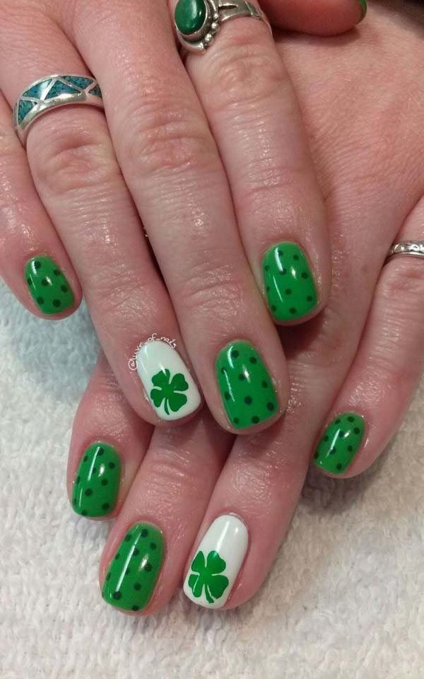 St Patrick's Day nail designs with green cover and polka dots #St. Patrick's Day nails #nails #beauty #trendypins