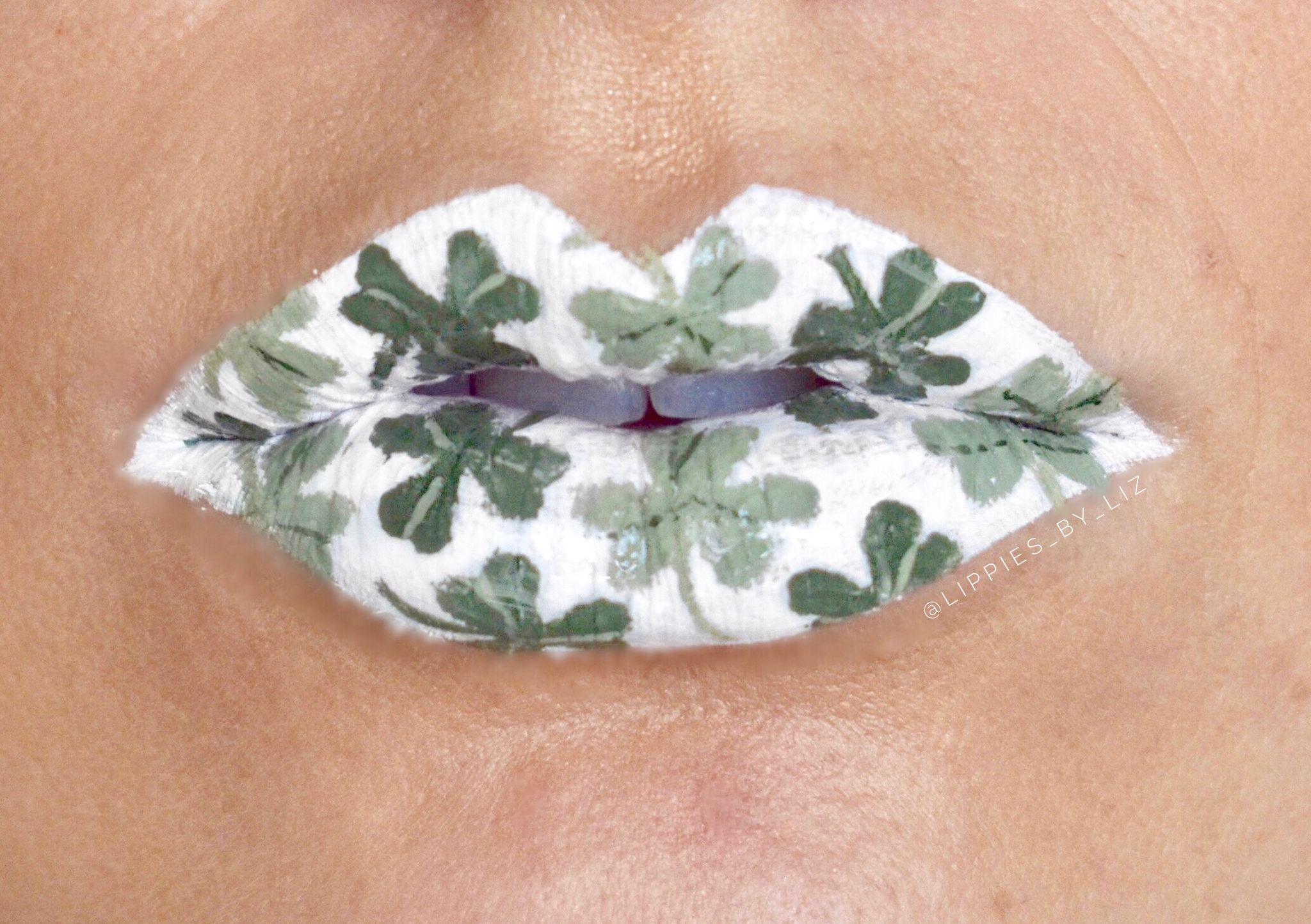 St. Patrick's Day white lips with green clovers