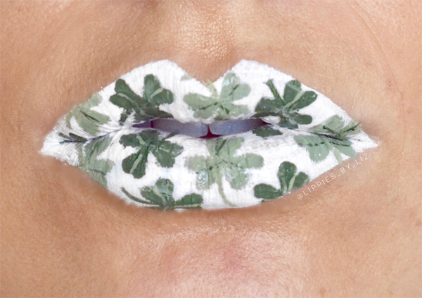 St. Patrick's Day White Lips With Green Clovers #St. Patrick's day lips makeup #beauty #makeup #trendypins