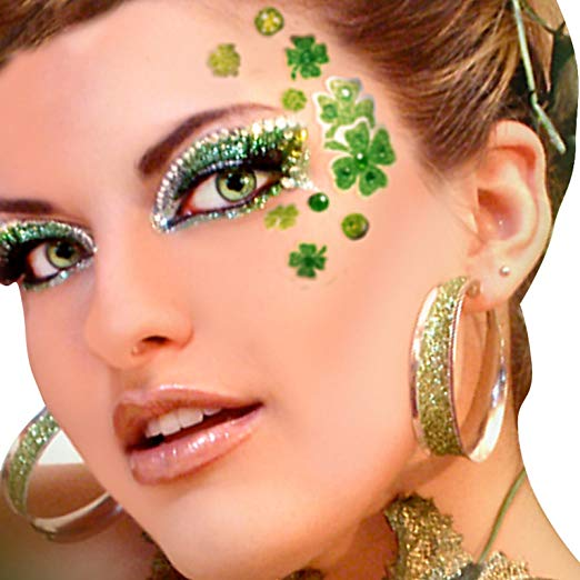 St. Patrick's Day four leaves clovers in green #St. Patrick's Day face painting #beauty #trendypins
