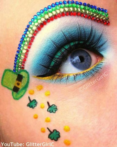 St Patrick's Day rainbow eyebrows makeup #beauty #makeup #St. Patrick's Day makeup #trendypins