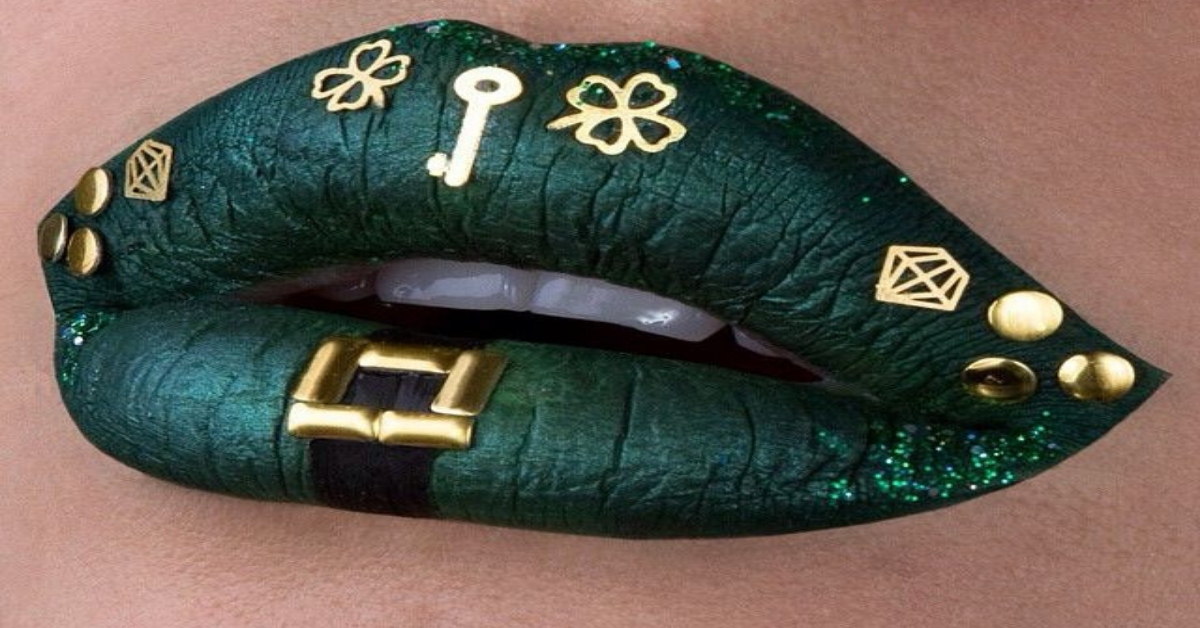 St. Patrick`s day lips makeup