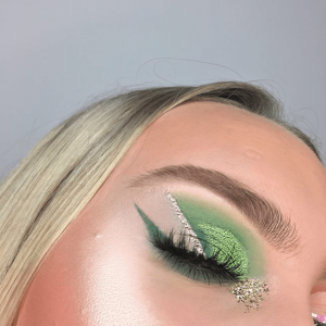 St. Patrick's Day makeup geometrically straight and green