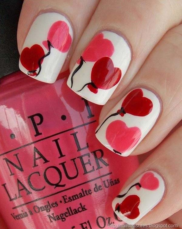 Valentine Day Nail Art Designs Hearts Baloons  #beauty #nails #trendypins