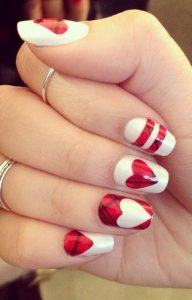 Valentine's Day Nail Art Decor With Plaid