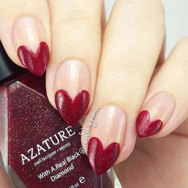 Valentine's day design nails red heart  #beauty #nails #trendypins