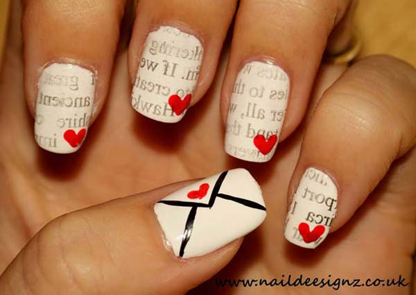 Valentine's day love letter nail design  #beauty #nails #trendypins