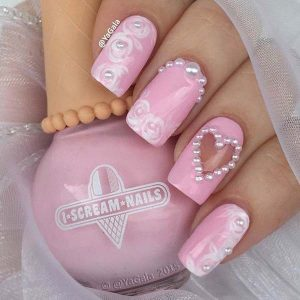 Valentine's day nail design with pearls