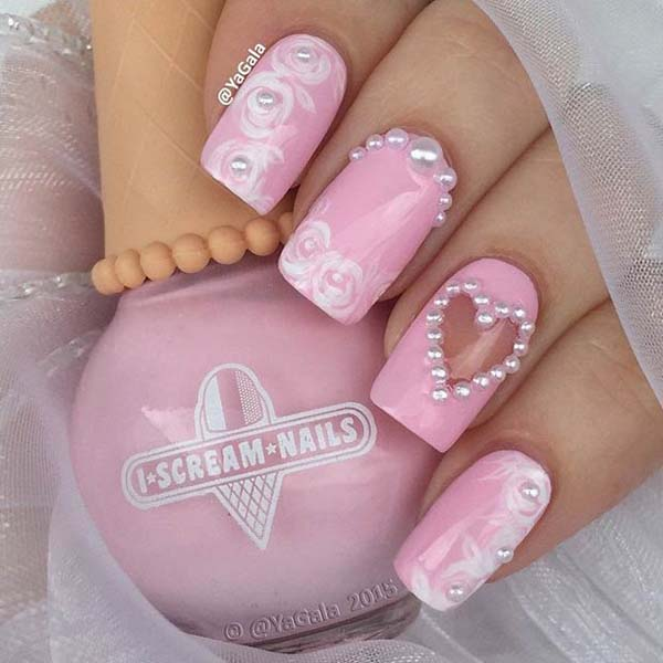 Valentine's day nail design with pearls  #beauty #nails #trendypins