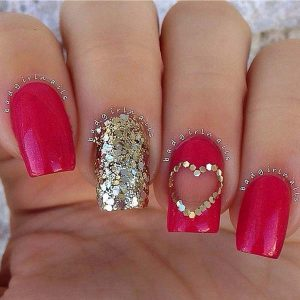 Valentine's day nails design gold and red