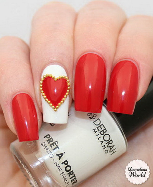 Valentines nail art designs with gold beads  #beauty #nails #trendypins
