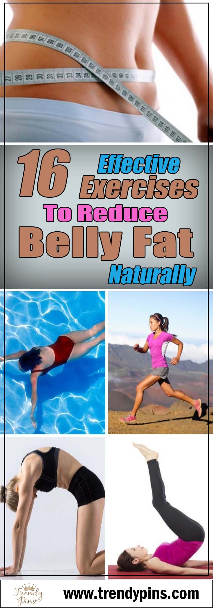 16 effective exercises to reduce belly fat naturally #Healthy living #Belly Fat #exercises #trendypins