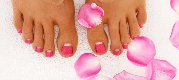 Pink half moon pedicure