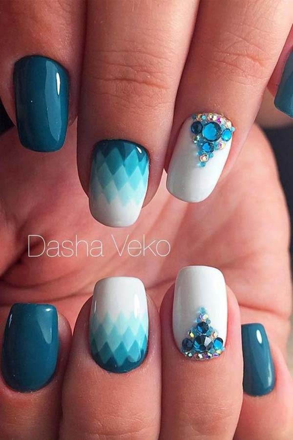 Blue Diamond Shaped Nail Design #nails #beauty #trendypins