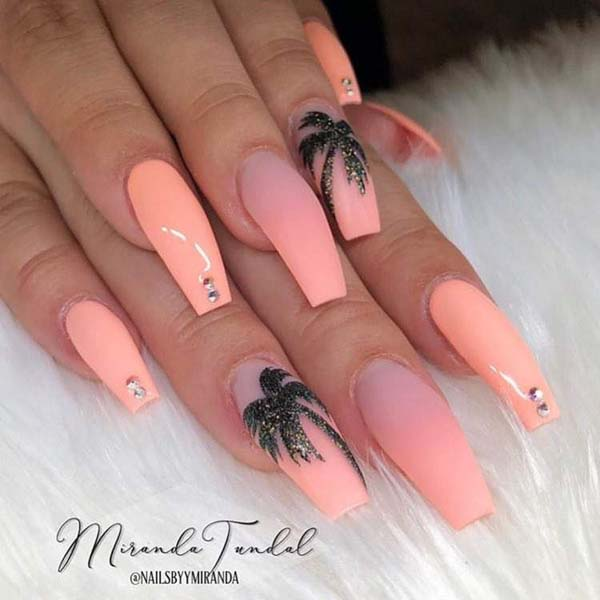 Coconut Tree Coffin Nail Designs #nails #beauty #trendypins