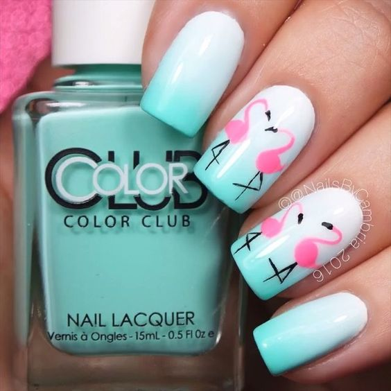 Flamingo Nail Design #nails #beauty #trendypins