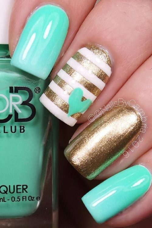 Green And Golden Nails. #nails #beauty #trendypins