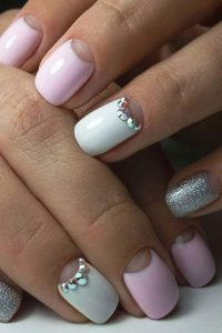 Grey glitter pink and white nail design