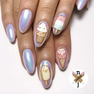 Ice cream and neon pink nail design