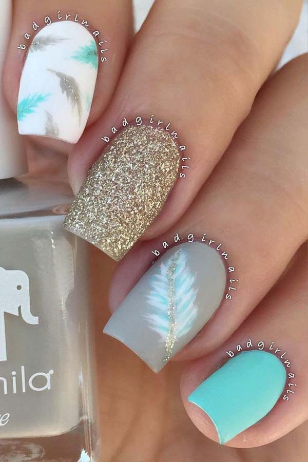 Matte Feathers Nail Designs #nails #beauty #trendypins