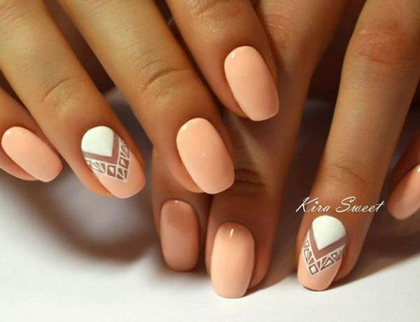 Peach Manicure With White #nails #beauty #trendypins