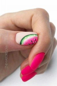 Pink and watermelon nail design