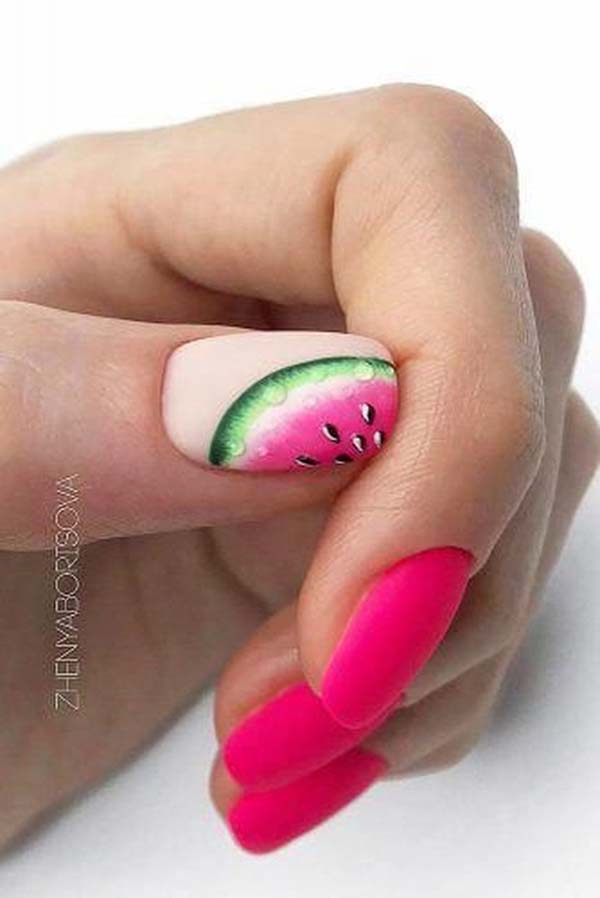 Pink And Watermelon Nail Design #nails #beauty #trendypins