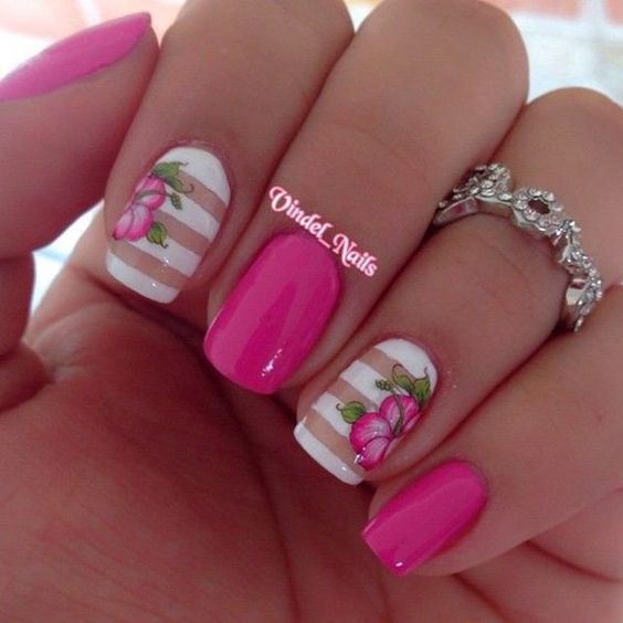 Pink Flower Nail Design #nails #beauty #trendypins