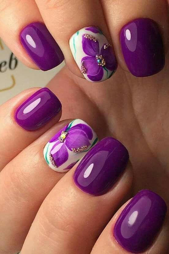 Purple Orchid Nail Design #nails #beauty #trendypins