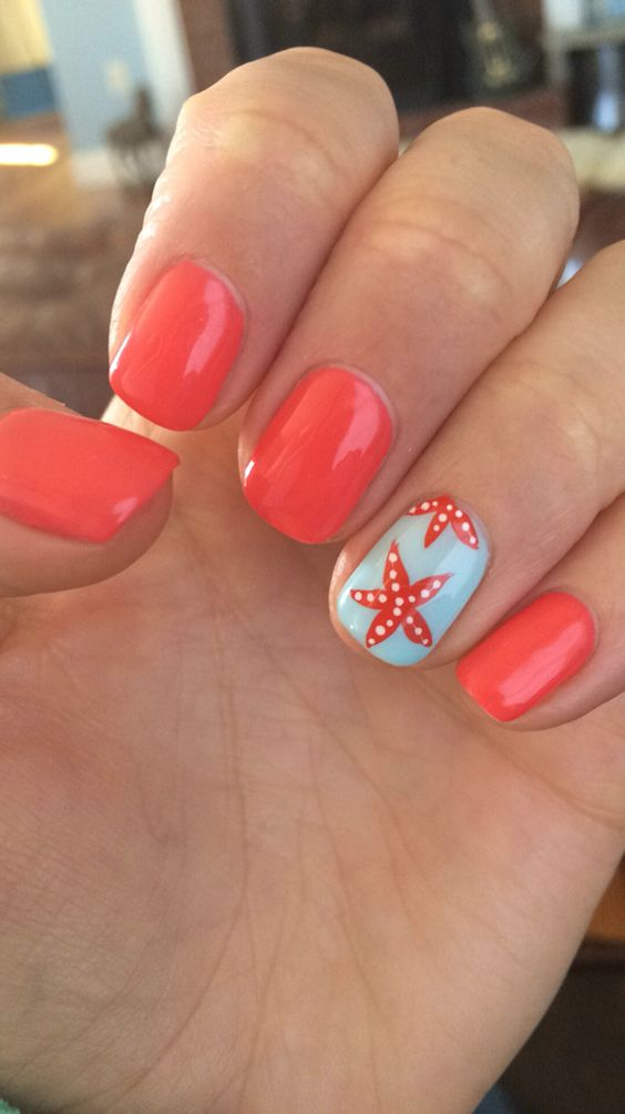 Starfish Nail Design #nails #beauty #trendypins