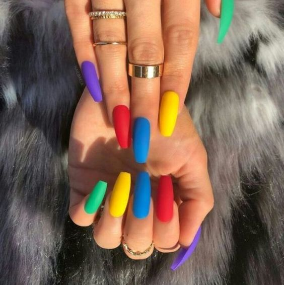Vibrant Colorful Nails #nails #beauty #trendypins