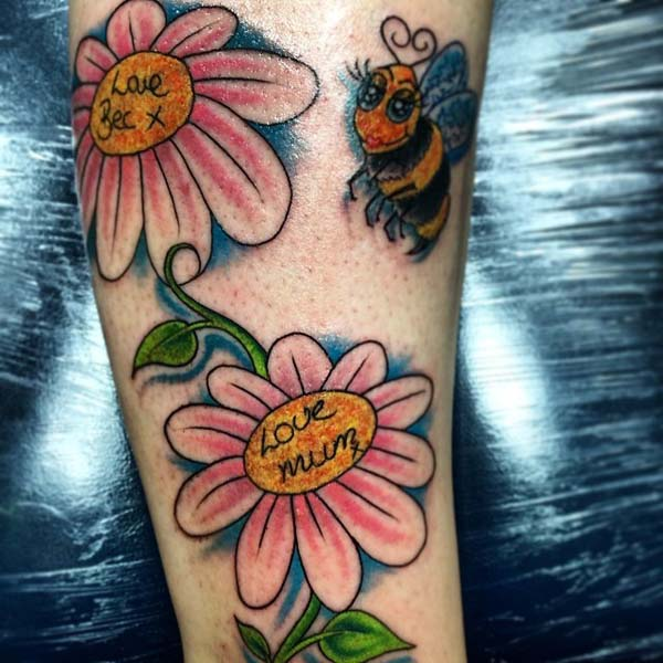 Bees and Daisy Tattoo Designs #bee tattoos #tattoo #beauty #trendypins