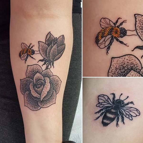 Bees and Roses Tattoo Designs #bee tattoos #tattoo #beauty #trendypins