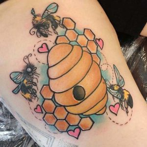 Bees and Beehive Tattoo Designs