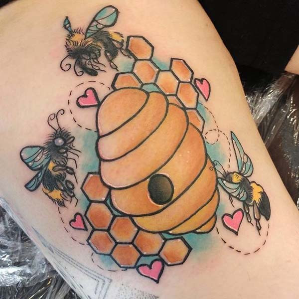 Bees and their Beehive Tattoo Designs #bee tattoos #tattoo #beauty #trendypins