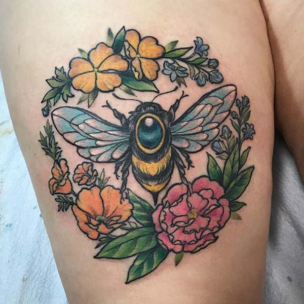 Bees and Plants Tattoo #bee tattoos #tattoo #beauty #trendypins