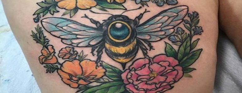 Bees and Plants Tattoo