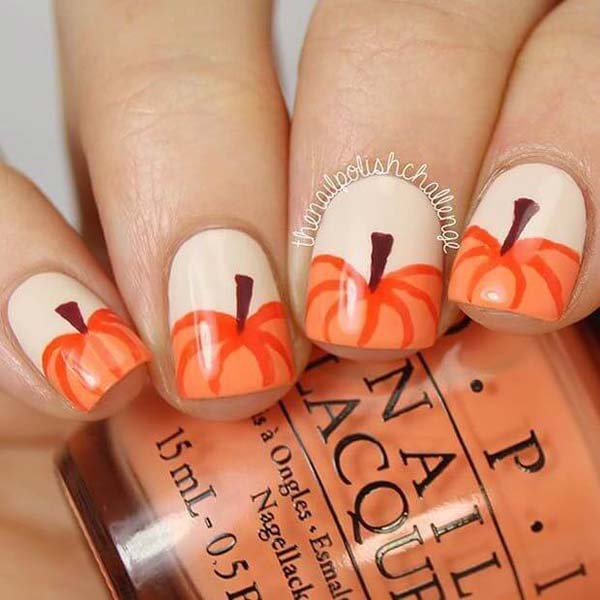 Beige Nails With Orange Pumpkins French Manicure #nails #fall nails #beauty #trendypins