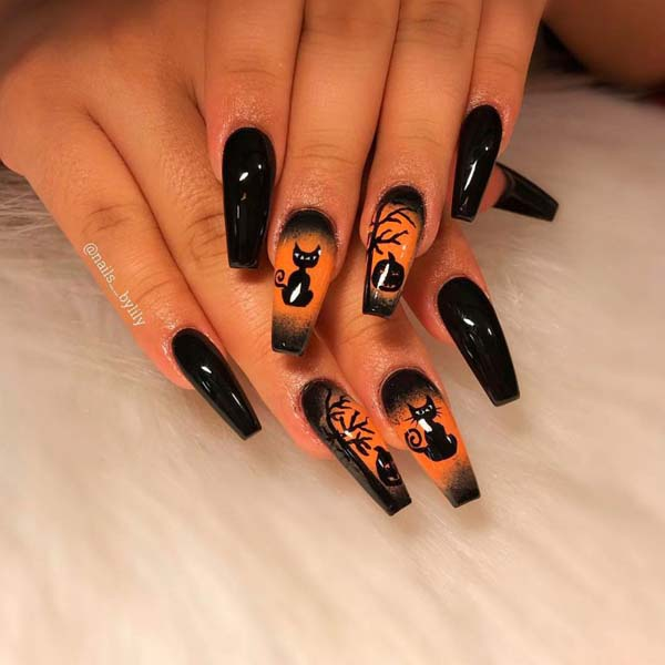 A Scary Cat Under a Tree Halloween Nails #nails #Halloween nails #trendypins