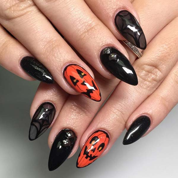 Pumpkin Halloween Art Design #nails #Halloween nails #trendypins