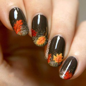 Black Nail Polish On-Base And Fall Leaves French Manicure
