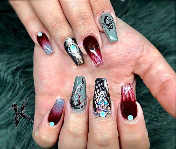 Ombre Halloween Art Nails Design #nails #Halloween nails #trendypins