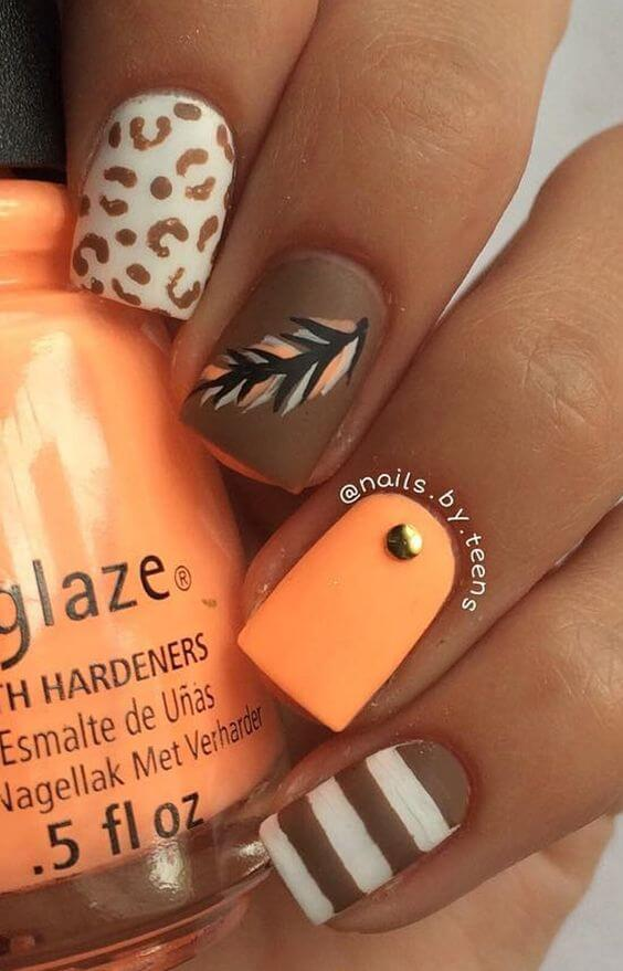 Brown And White Stripes Autumn Leaf And Orange Nail #nails #fall nails #beauty #trendypins