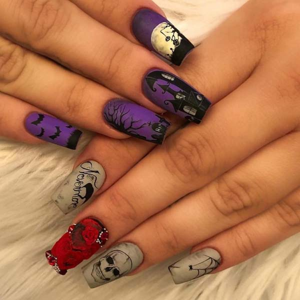 The Contrast Between Purple and Gray #nails #Halloween nails #trendypins
