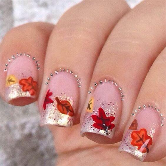Colorful Leaf Decal Nails #nails #fall nails #beauty #trendypins