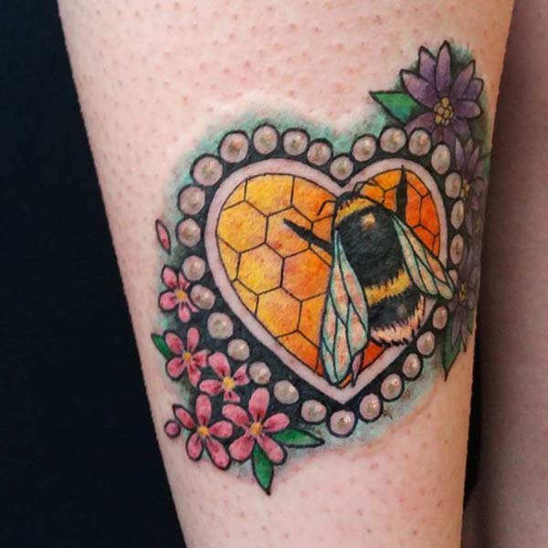 Bee Tattoo in a Heart-Shaped Full of Colors #bee tattoos #tattoo #beauty #trendypins