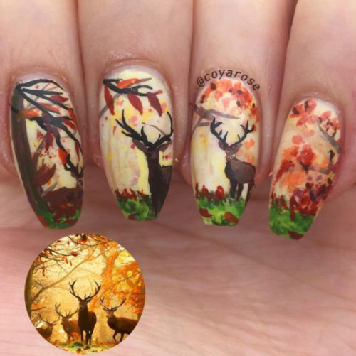 Deer In The Autumn Forest #nails #fall nails #beauty #trendypins