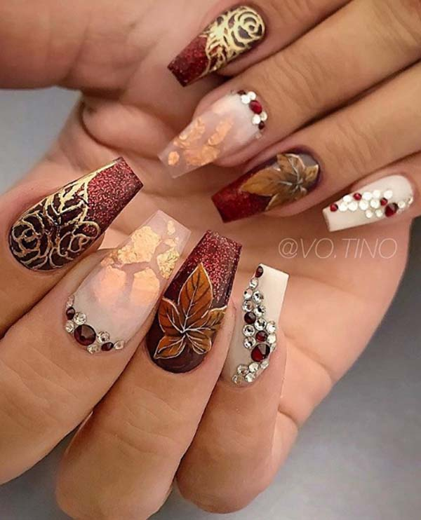 Fall Colors And Stones #nails #fall nails #beauty #trendypins