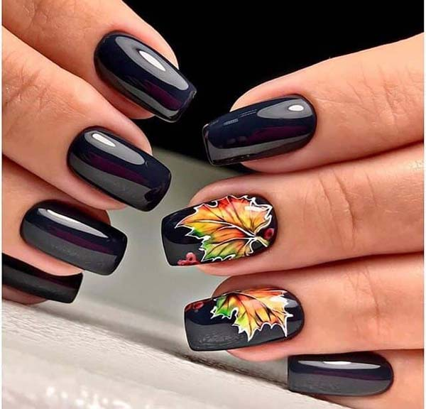 Fall Inspired Leaf Design #nails #fall nails #beauty #trendypins
