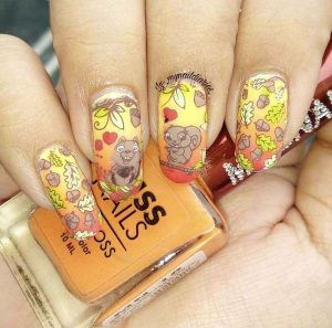 Fall Nails Art Design Squirrels